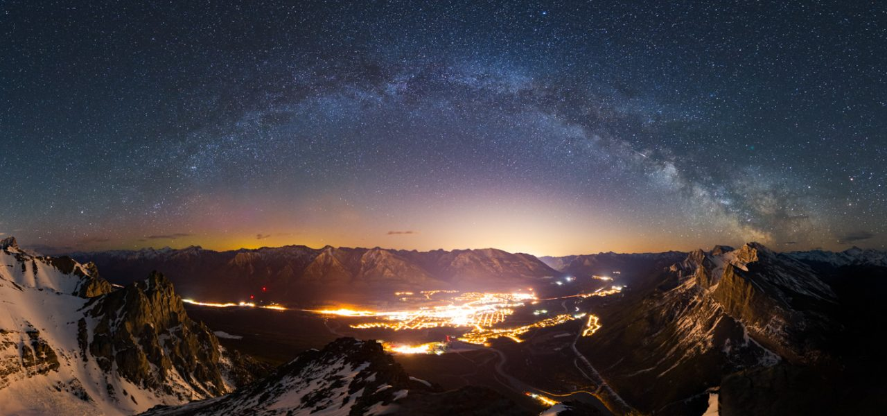 Milky Way arc over Canmore from East End of Rundle, EEOR