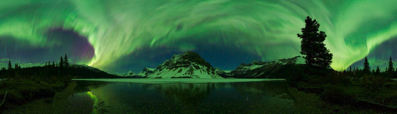 360 Degree Panorama of Aurora Borealis at Bow Lake