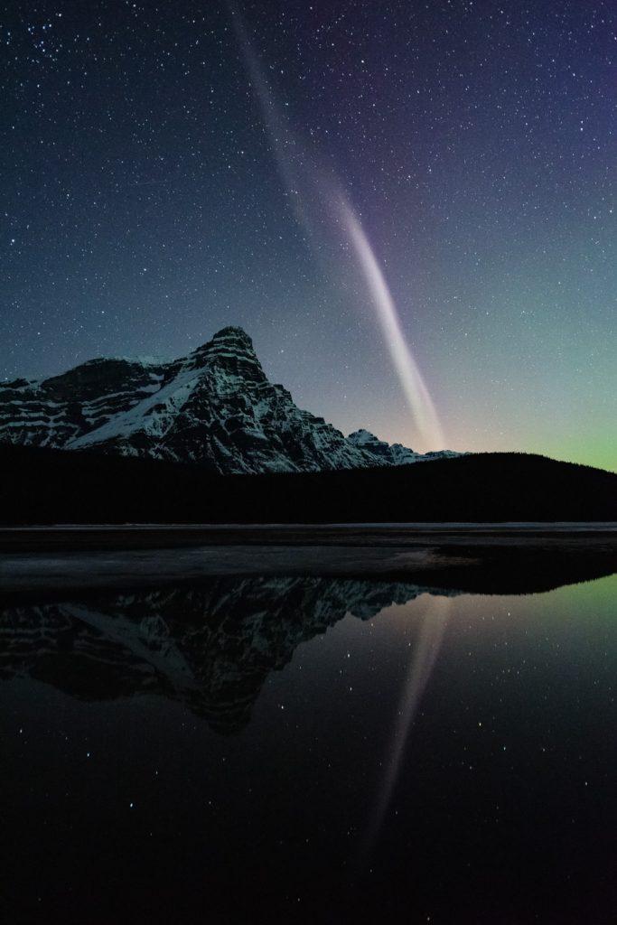 STEVE arcing over Mount Chephren in the Canadian Rockies
