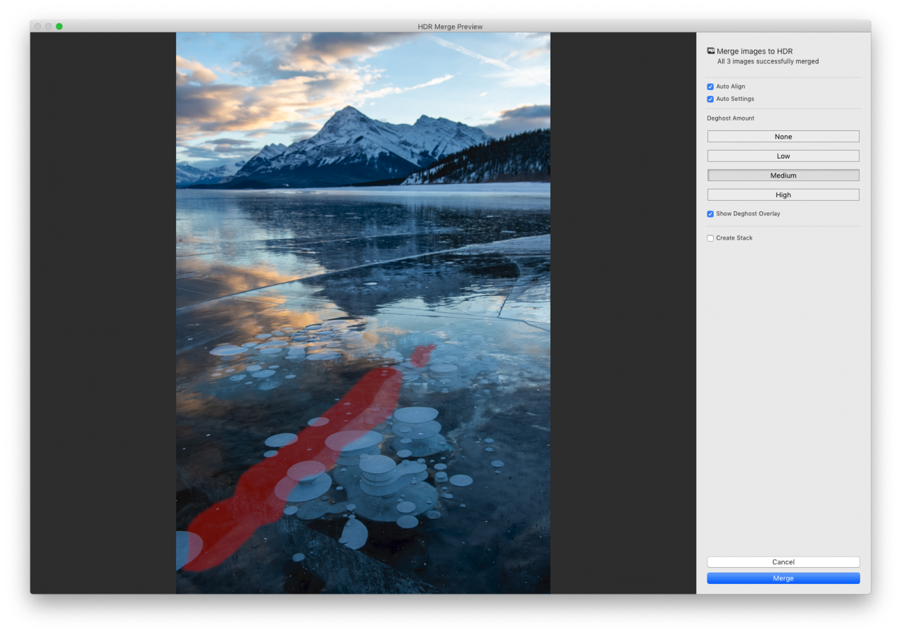 Deghost overlay shown over the image in the lightroom HDR merge window