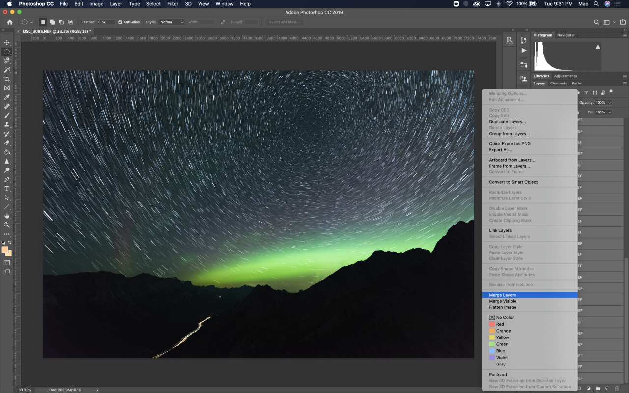 Star Trail Tutorial Merge Layers in Photoshop