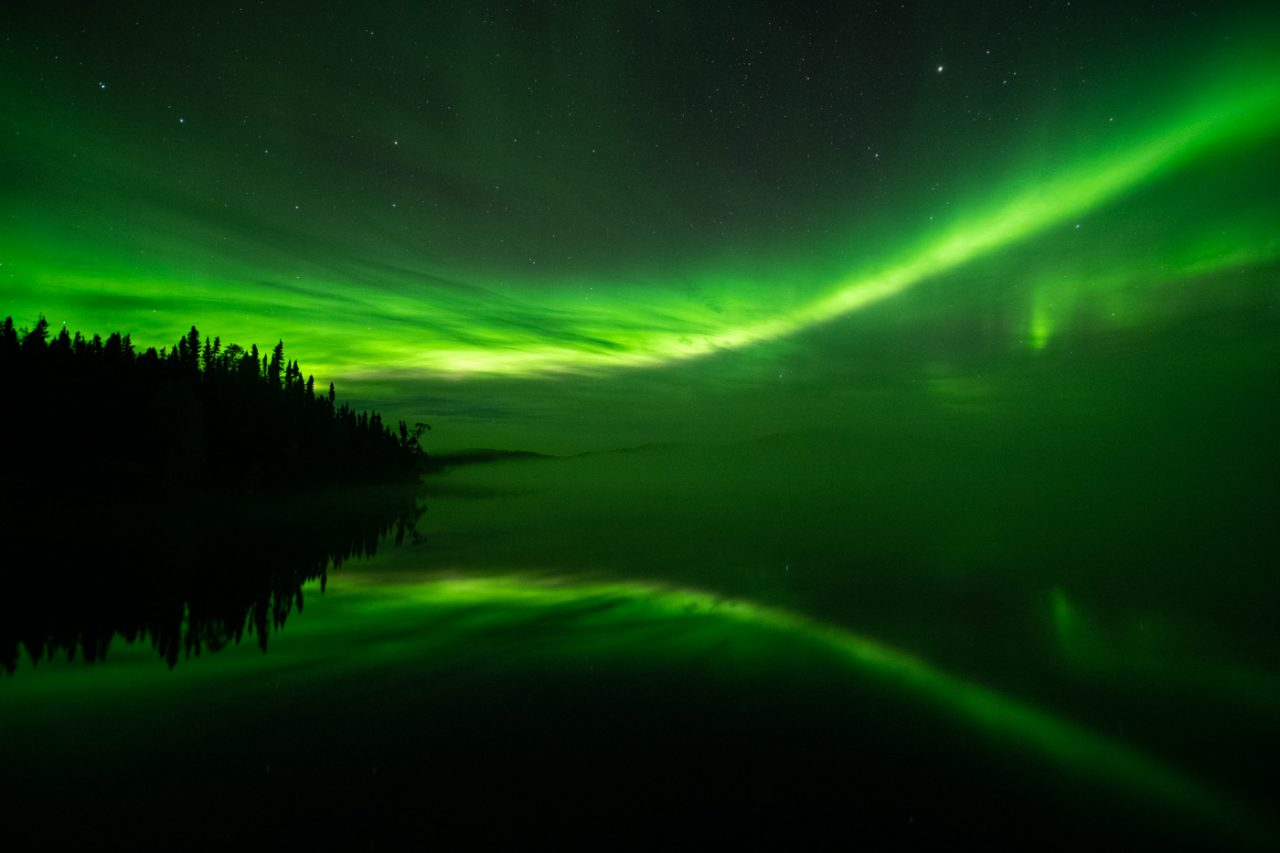 Green and Yellow Aurora reflecting in Andrew Lake
