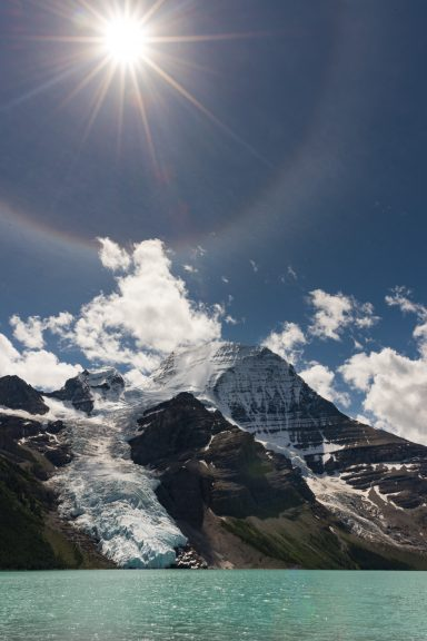 22 degree sun halo over Mount Robson and Berg Lake