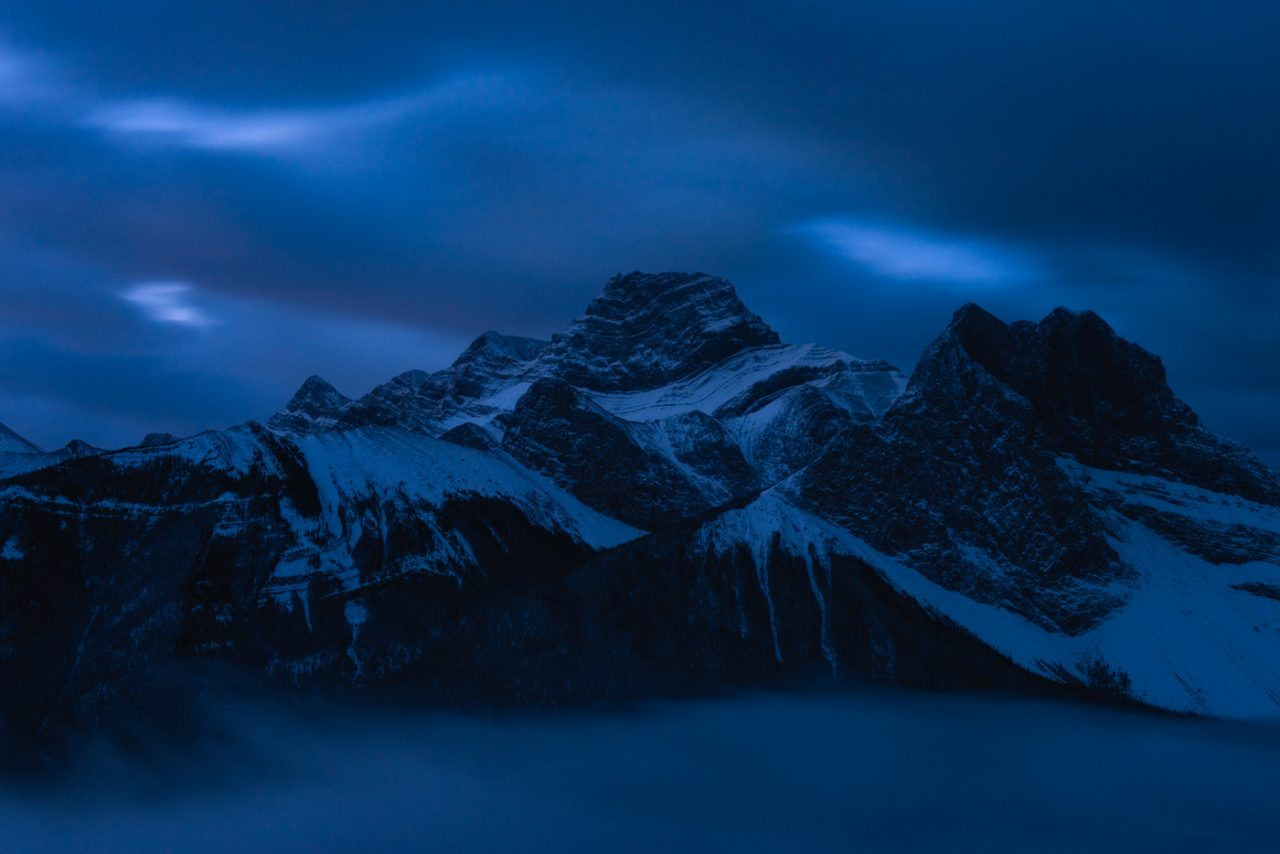 Mount Lougheed and Wind Tower in the Bow Valley at Blue hour