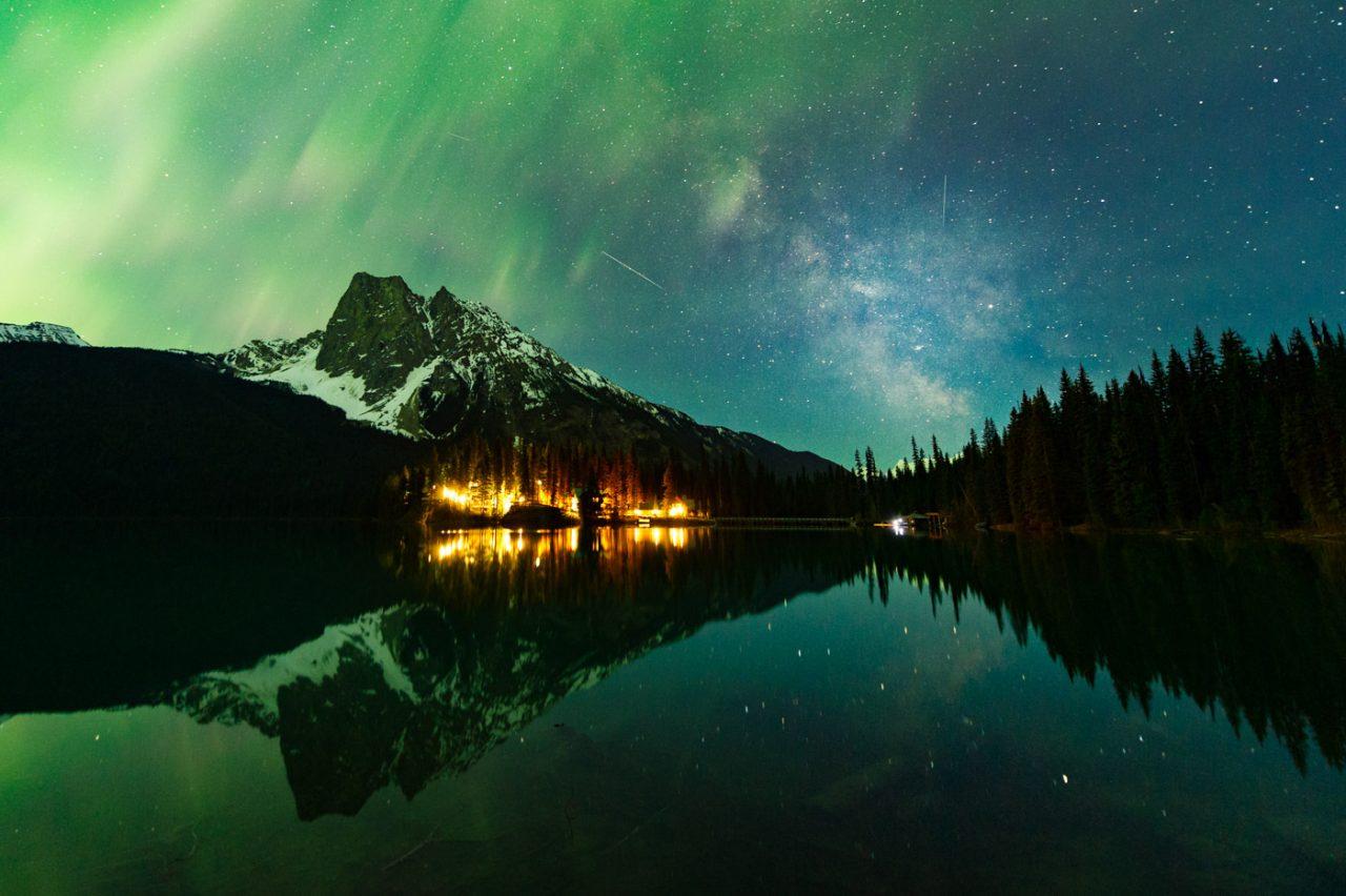 Aurora and Milky Way over Emerald Lake Lodge