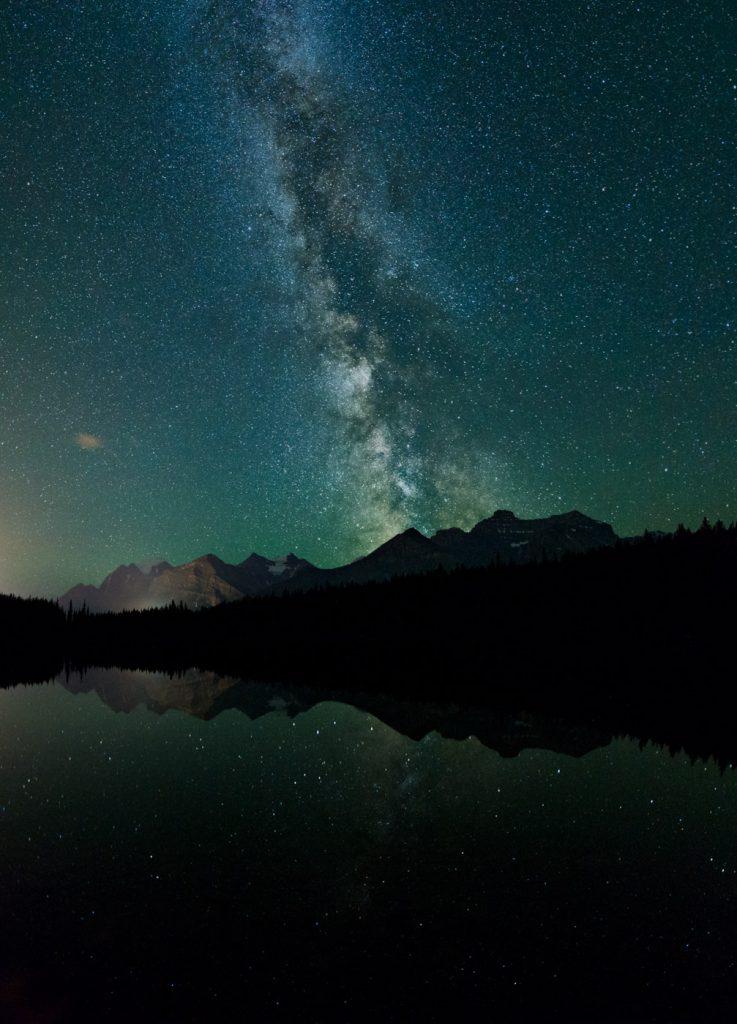 Thee shot vertical panorama of the Milky Way at Herbert Lake - Monika Deviat