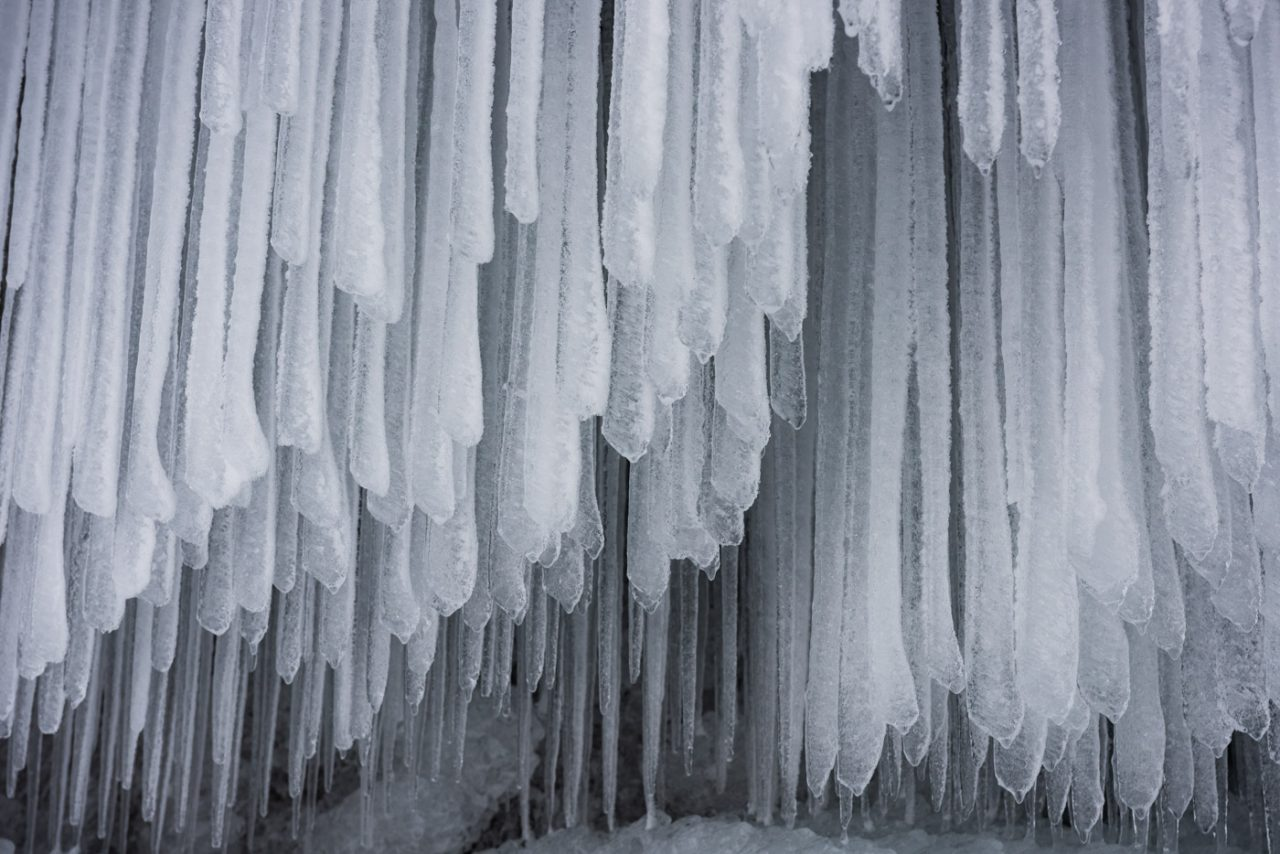 Hundreds of icicles layered