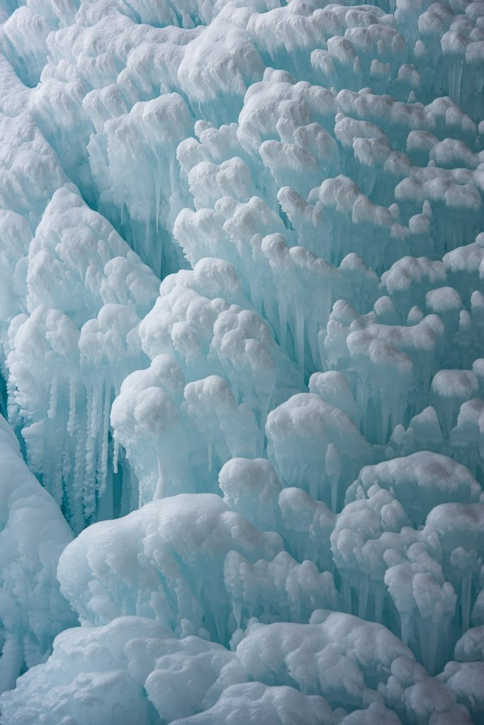 Ice formation on a waterfall