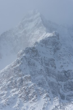 Telephoto image of snow covered mountain ridge on the Icefields Parkway