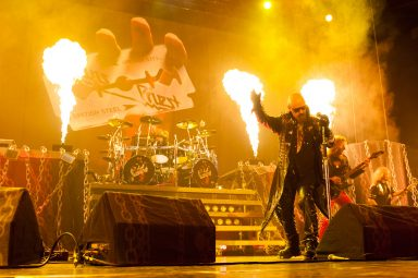 Rob Halford and pyrotechnics during Judas Priest Concert, Saddledome