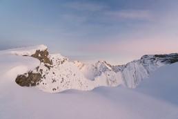 Snowy ridge and Alpen glow on Little Arethusa, Highwood Pass, Alberta