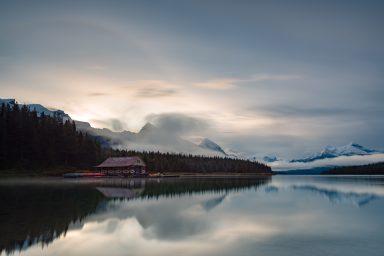 22 degree Halo over Malign Lake Boat House in Jasper
