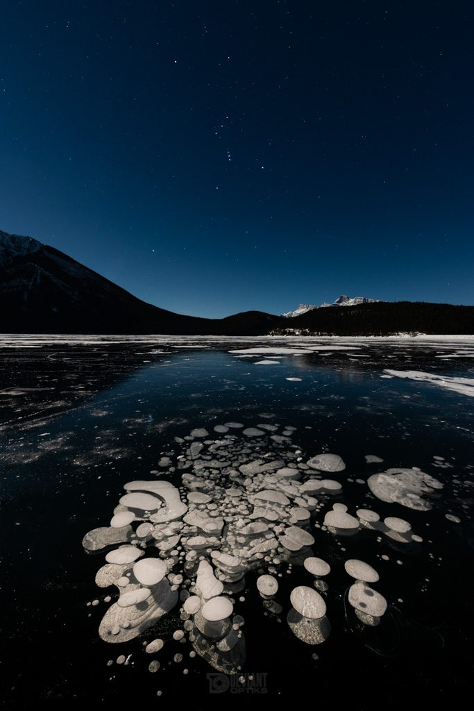 Moonlit methane bubbles and orion at night in Banff