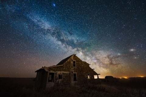 Milky Way over abandoned house in Alberta