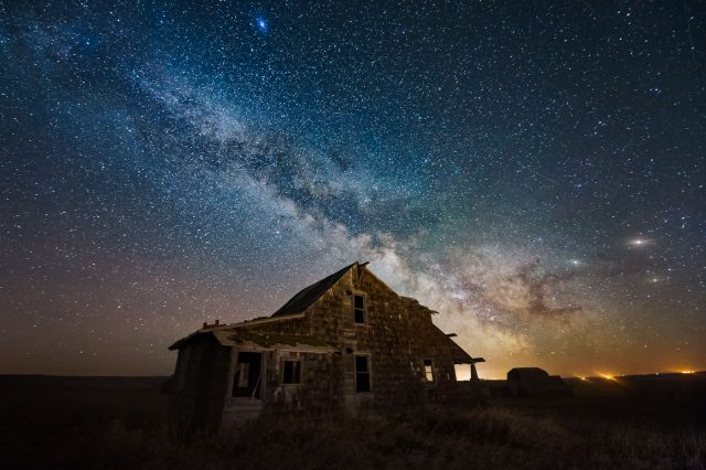 Milky Way over abandoned house in central Alberta