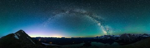 360 degree milky way panorama with northern lights and air glow over upper and lower kananaskis lakes