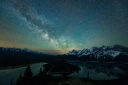 Milky Way over Upper and Lower Kananaskis Lake, Canadian Rockies