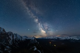 Blue hour Milky Way and snow covered peaks in Kananaskis