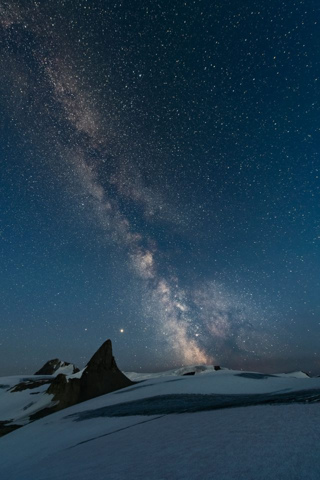 Jupiter and Saturn with St Nicolas peak in the Middle with Milky Way above the Wapta Icefield