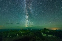 Milky Way and shooting star over the valley of ten peaks in Banff