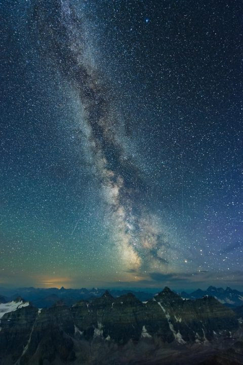 Milky Way over valley of the ten peaks in Banff