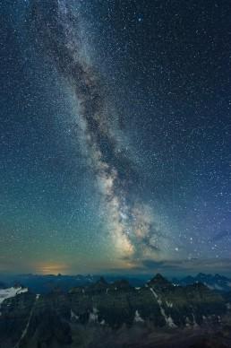 Milky Way over valley of the ten peaks in Banff