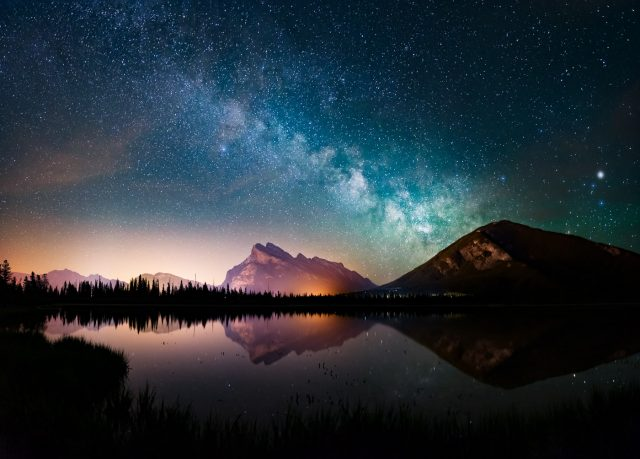 Milky Way over Mount Rundle at Vermillion Lakes, Banff National Park