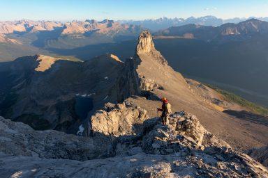 Hiker on Molar Mountain during sunset