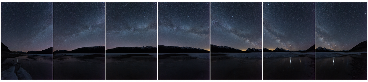 A series of vertically oriented images of the Milky Way arc - Monika Deviat