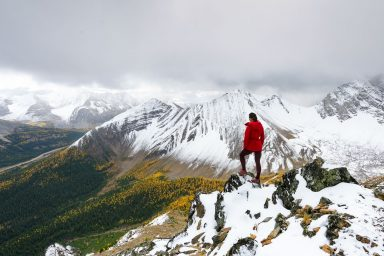 Female hiker in red jacket standing on Pocaterra Ridge looking down at a valley of yellow Larches