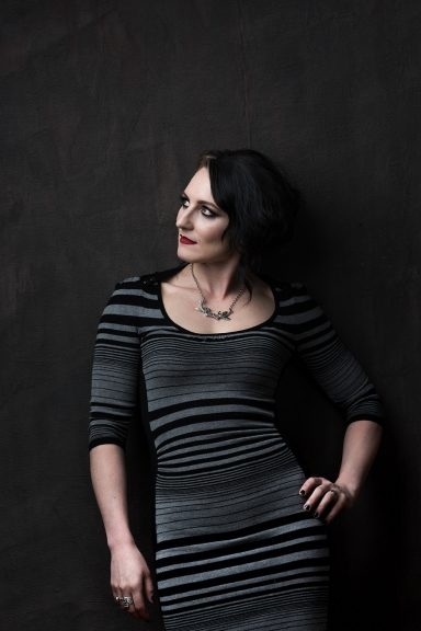 Self Portrait in grey and black stripped dress