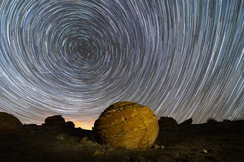 Star trail at red rock coulee