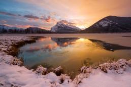 Winter sunrise pinks, blues, golds, at Vermillion Lakes