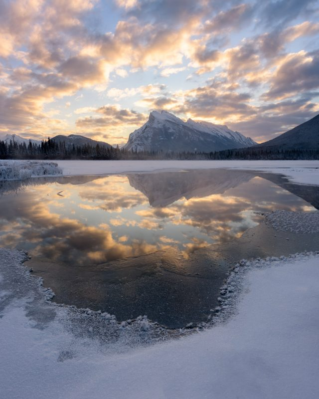 Sunrise and frost flowers at Vermillion Lakes, Banff National Park