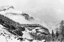 Black and white image of Glacier Peak along Lake O'hara circuit