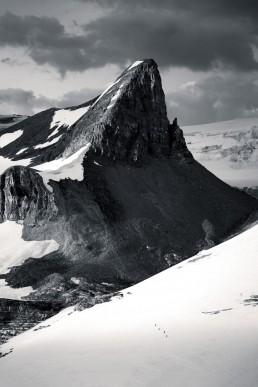 Four tiny skiers approaching St Nicolas on the Wapta Icefield