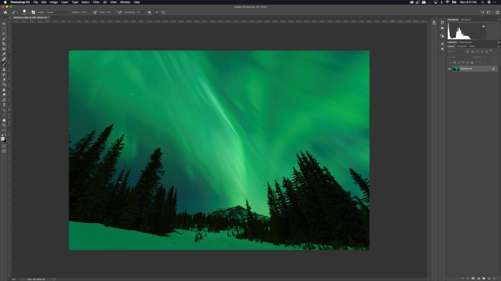 Aurora image opened in photoshop