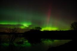 Aurora Borealis in Alberta with red streak