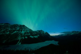 Aurora over peyto lake during twilight before editing in lightroom and photoshop