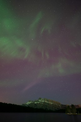 Northern Lights over Mount Rundle before editing