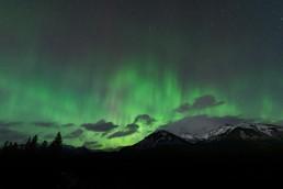 Green aurora dancing over the Fairholme Mountain Range