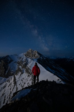 Composing a night photography image and self portrait
