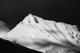 Snowy peak with shadows of clouds in Jasper National Park
