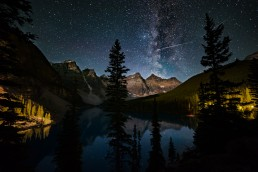 A Perseid Meteor crosses the Milky Way over the Ten Peaks and Moraine Lake