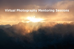 Virtual Photography Mentoring sessions text over sun rising and mountain ranges
