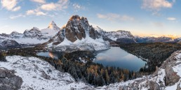 Mount Assiniboine and Sunburst Peak during a snowy morning from the Nublet