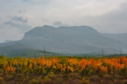 Smokey skies over colourful fall foliage in Waterton Lakes National Park